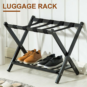 Wood Folding Luggage Rack Stand Suitcase Hotel Travel Storage with Shoe Shelf