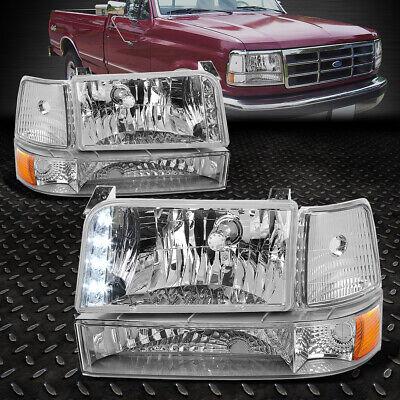 CHROME LED HEADLIGHT+AMBER CORNER+8 LED GRILL FOG LIGHT FIT 92-96 F150//F250//350