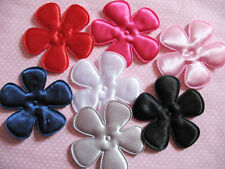 "35 Big 2 1/2"" Padded Satin Spring Flower Appliques-7 colors AF102"