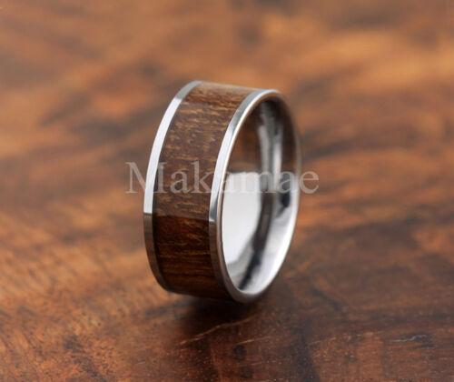 Tungsten  Carbide Inlaid Koa Wood Ring 8mm