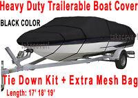 Crestliner Fish Hawk 1750 Trailerable Boat Cover B2001 Black Color
