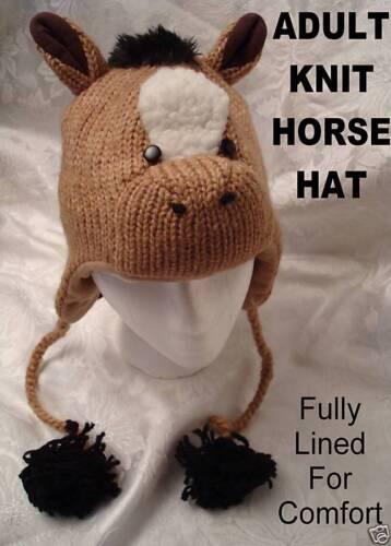 HORSE HAT knit ADULT mane tail jockey Ski Cap FLC LINED stallion costume deLux
