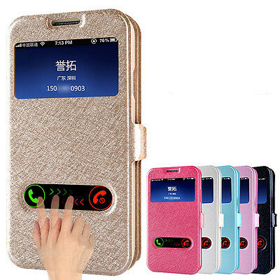 for Samsung Galaxy S4 I950 i9500 Window Leather Flip Case Cover Skin Elegant