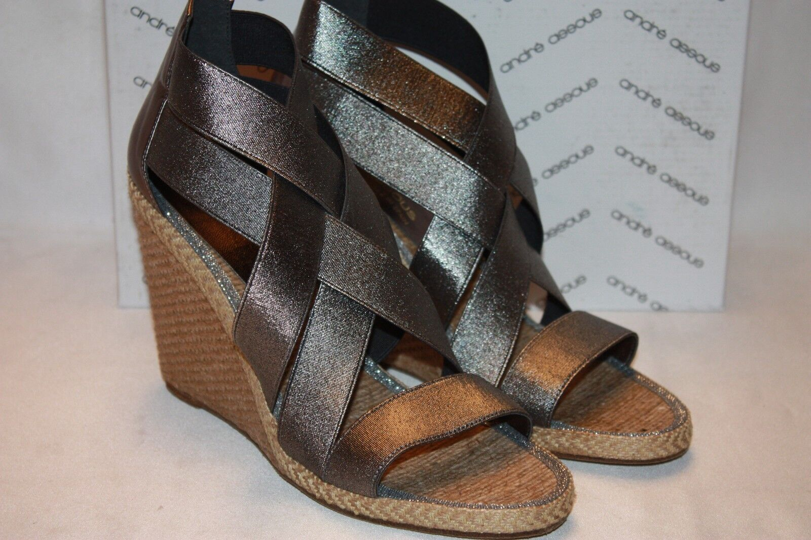 NEW  NIB ANDRE ASSOUS Pewter Elasticized Straps JAN Jute Wedge Sandals Sz 9  235