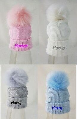 PERSONALIZED 3-6MTHS  BABY BOY POM POM  BOBBLE HAT EMBROIDERED NAME