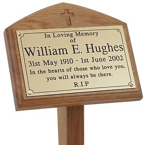 Solid Wooden Memorial Stake Grave//Tree Marker Cremation Engraved into Wood
