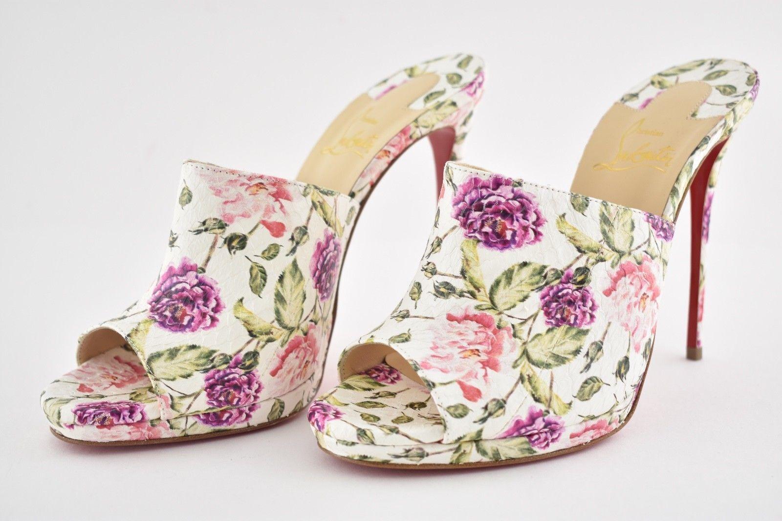 Christian Louboutin Louboutin Louboutin Pigamule 120 Floral Snakeskin Mules Sandal Heels Größe 37.5 4da28d