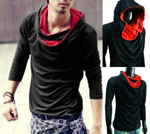 New BLACK RED Hoodie COWL NECK long sleeve shirt T-shirt top tee casual S M L XL