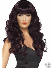 Smiffys Halloween Sexy Siren Witch Vampire Costume Long Plum Wig Curly Adult