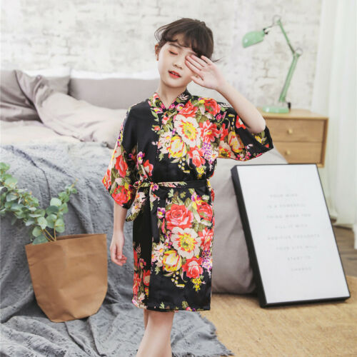 Infant Baby Kid Girl Floral Silk Satin Kimono Robes Bathrobe Sleepwear Clothes K