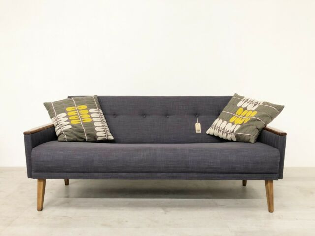 Awesome Vintage Inspired Danish Mid Century 60S 3 Seater Cocktail Sofa Settee In Grey Dailytribune Chair Design For Home Dailytribuneorg