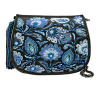 Mary Frances Botanica Mini Black Blue Flower Crossbody Bead Bag Purse Spring 201