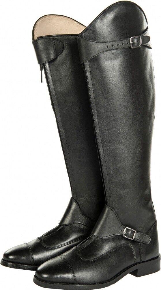 Señora reitbotas polo HKM Soft cuero negro corto