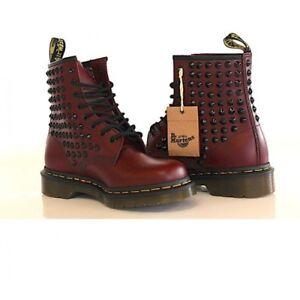 Generalmente Possesso Primo  Dr. Martens Bordeaux Studded Black Full 1460 [Custom product] ori shoes |  eBay