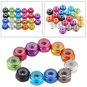 10~100pc M2//M3//M4//M5 Nylon Insert Self-Lock Aluminum Nuts Hex Lock Nut 10 Colors