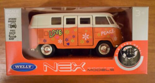 Welly Diecast 1963 T1 VW Camper Bus Amor Paz CND Decoración Pull-back Amarillo