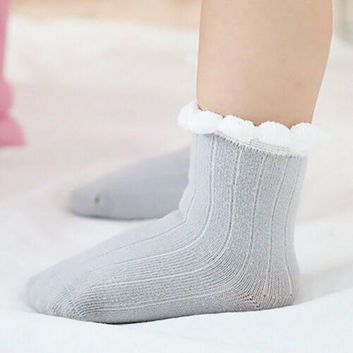 Winter Children Kid Toddlers Girls Big Bow Knee High Long Cotton Lace Baby Socks