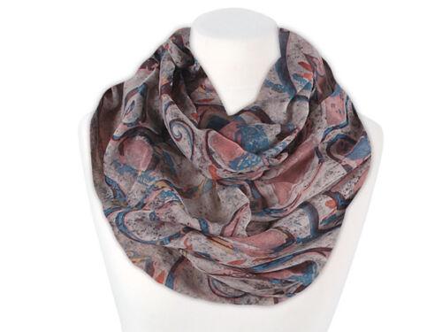 Damen Loop Schal floral beige