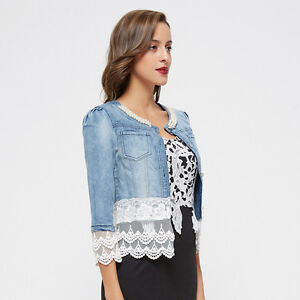 the latest 74ee0 286b3 Dettagli su giubbino jeans giacca donna pizzo perle woman jacket denim