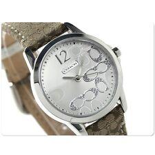 NWT Coach Womens Watch Brown Khaki Leather Silver SS Glitz CLASSIC 14501620 $195