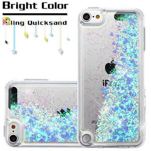 online retailer 90e80 dae4b Details about For iPod Touch 5th 6th 7th Generation Blue Hearts Glitter  Liquid Waterfall Case