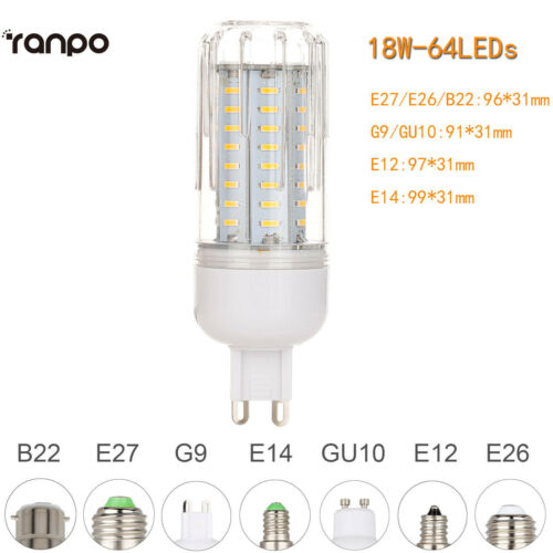 E26 E27 E12 E14 G9 GU10 Dimmable LED Corn Bulb Light 4014 SMD Lamp 110V 220V ST