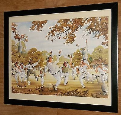 Cricket Match print, Steve Garner print -20x16'' frame, comical cricket wall art