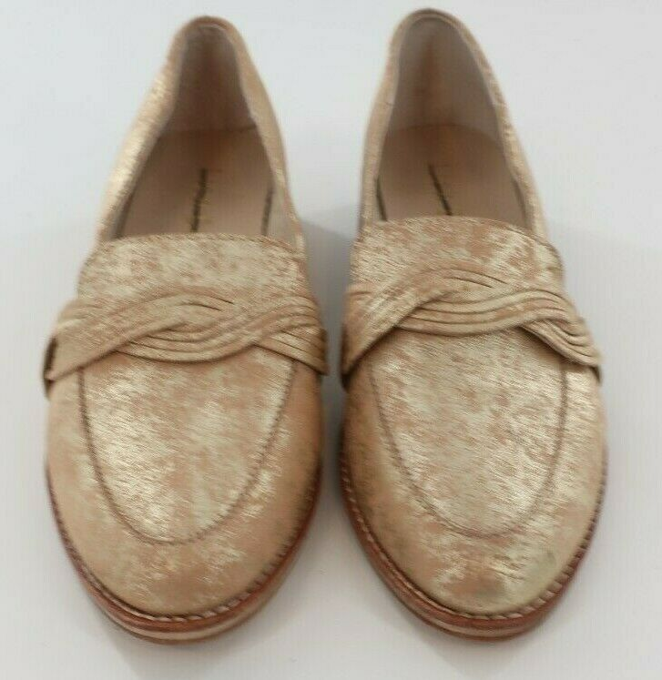 Women's Anthropologie Lien DoGold Tone Braidied Loafers Shoes Size 8