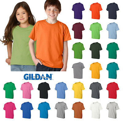 Gildan White T-SHIRT Blank Plain Tee Baby Toddler Youth Kids Boy Girl Cotton