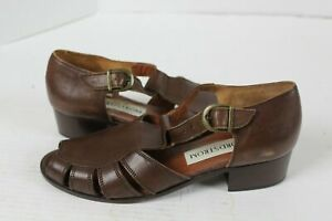 Nordstrom-Leather-Sandal-Open-Toe-Brown-Women-039-s-Size-8M-Buckle-Open-Toe-Italy
