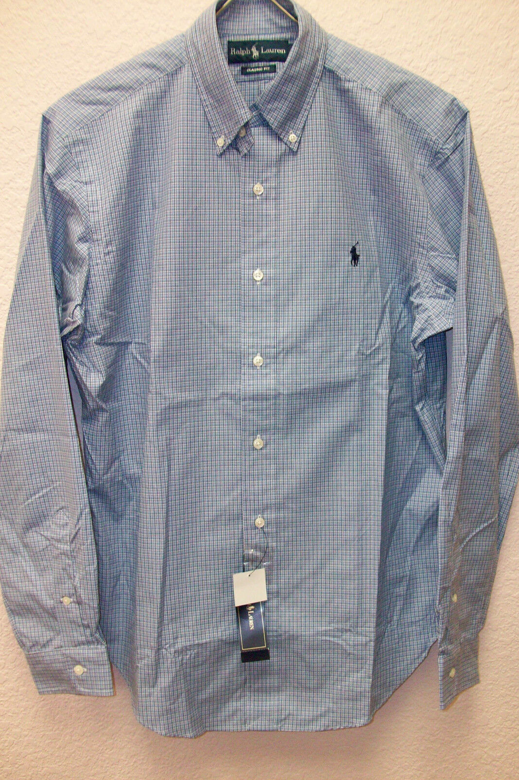 Polo Ralph Lauren Classic Fit Woven bluee White Plaid Shirt  Pony  Small S NWT
