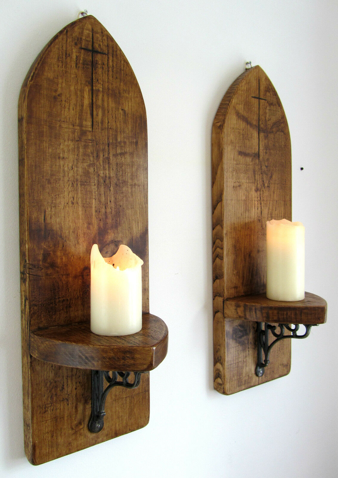 2X LARGE 70CM GOTHIC ARCH RUSTIC RECLAIMED SOLID WOOD WALL SCONCE CANDLE HOLDER