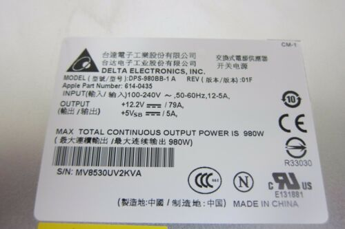 Apple 614-0435 Power Supply 980W for Mac Pro Early 2009