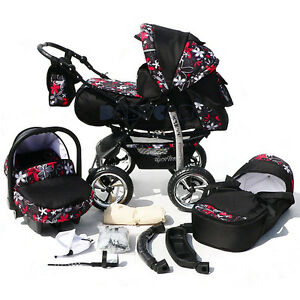 Baby Pram Stroller Pushchair + Car seat Carrycot Buggy Travel system