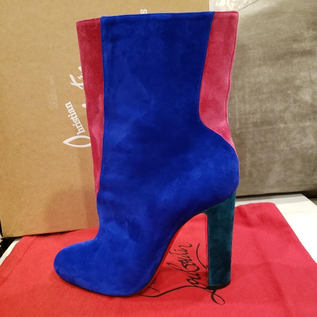 Christian Louboutin BOTTY DOUBLE 100 Farbe Block Block Block Suede Stiefel Heels  1145 b79795