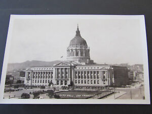 c-1930s-RPPC-Postcard-San-Francisco-CA-City-Hall-Old-Cars