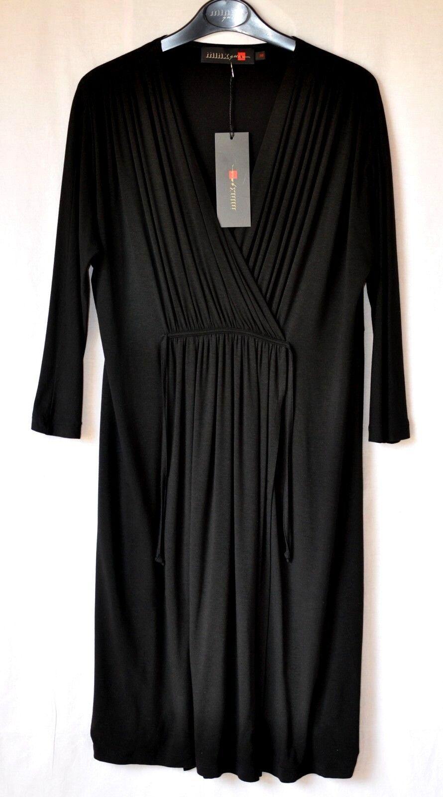 Minx Gr 38  Jersey  Kleid  Wickeloptik FERA60  Schwarz NEU