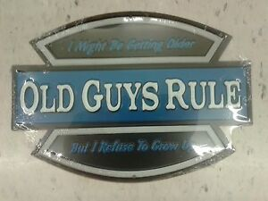 OLD GUYS RULE EMBOSSED METAL SIGN RAISED LETTERS 10 BY 7 INCHES MAN CAVE GARAGE