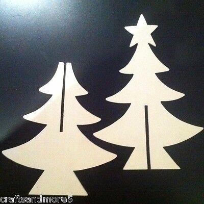 3d Diy Unfinished Wood Wooden Christmas Xmas Tree 25cm Ebay