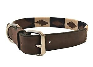 HAND-MADE-LEATHER-DOG-COLLAR-EMBROIDERED-GAUCHO-POLO-LARGE-LABRADOR-ARGENTINIAN