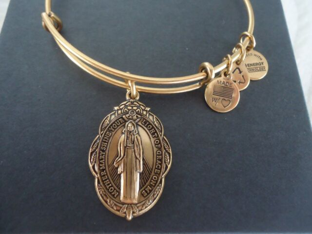 Alex and Ani MOTHER MARY II Russian Gold Charm Bangle New W/Tag Card & Box