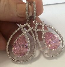 Awesome HUGE Pink Topaz White Topaz lever back Earrings 925 silver