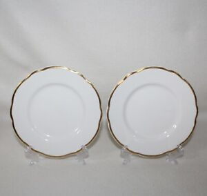Set-Of-2-Vintage-Buffalo-China-Manhattan-Gold-Dessert-Bread-Saucers