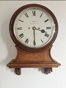 VERY RARE 9 INCH DIAL FUSEE WALL CLOCK BY DENT, LONDON, RESERVE PRICE LOWERED
