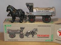 Ertl Texaco 1939 Horse & Tanker Wagon #8 Die Cast Metal Coin Bank w Key MIB Toys