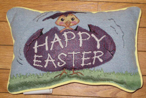 Easter Parade ~ Happy Easter Chick Tapestry Word Pillow