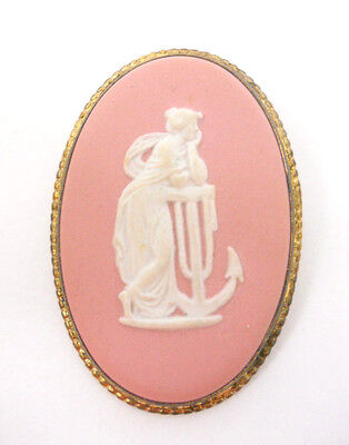 Wedgwood Cameo Brooch Pin Hope & the Anchor Muse of Music Polymnia Box Vintage