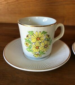 Vintage Summertime Coffee Cup Saucer Set Of 2 Floral Staffordshire England*