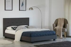 size 40 ffb68 dfb7f Details about Single Bed Grey Fabric 3ft Modern Hopsack Button Detail  Headboard Low End