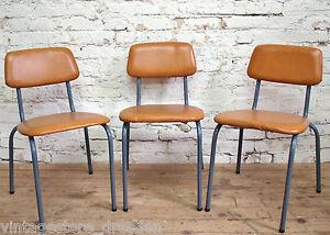 3x ddr kantinenstuhl 70er 80er jahre stuhl k chenst hle kunstleder stahlrohr ebay. Black Bedroom Furniture Sets. Home Design Ideas